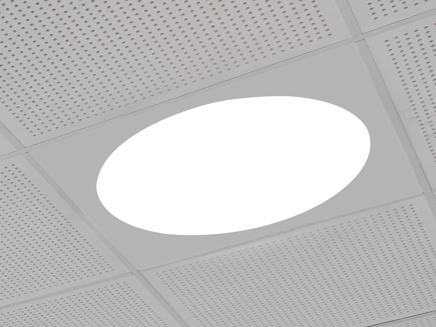 Ledgo rund led panel monteret i gipsloft nærbillede - Luminex