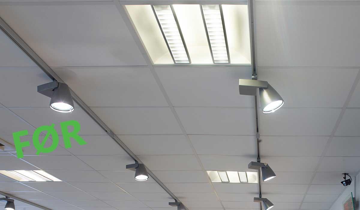 Belysningen på apoteket før udskiftningen, nærbillede - Luminex