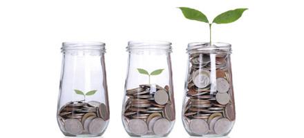 Tre glas med penge og et blad spirer - Luminex