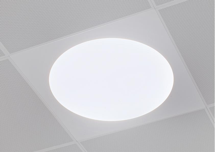 Ledgo circle panel lampe indbygget i loft hos Risskov skole nærbillede - Luminex