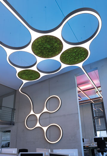 Ringo Star Cluster lampe nedhængt fra loft med mos som lyddæmpende funktion - Luminex