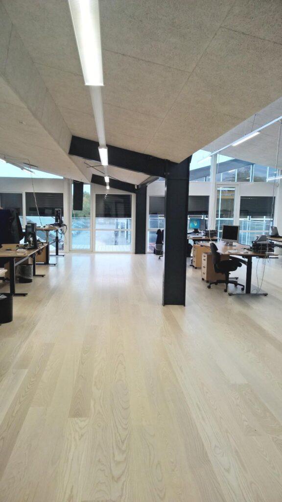Linia FL lampe monteret i skinne system i åbent kontor - Luminex